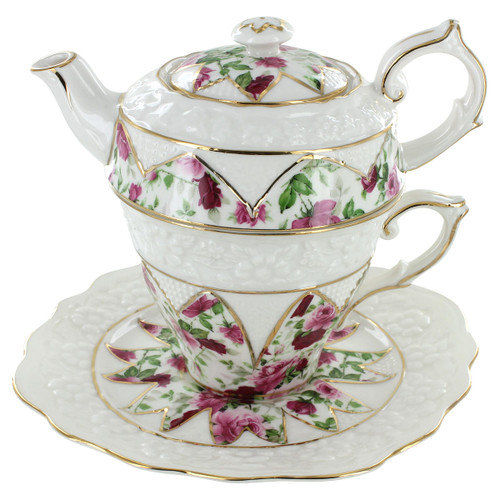 Red Rose Porcelain - Tea for One with Saucer