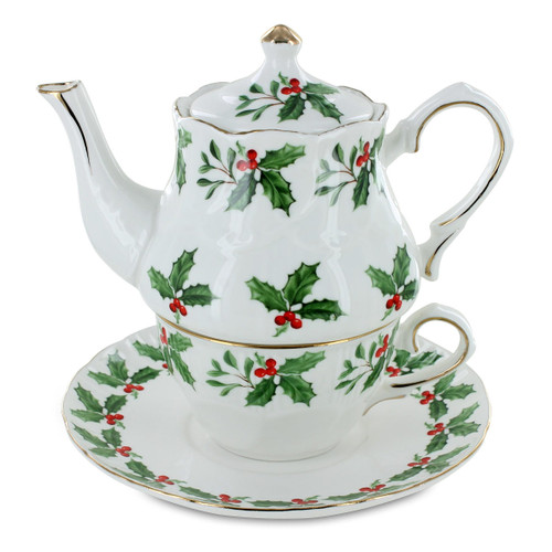 Holly Christmas Porcelain Tea for One