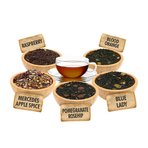 Sweet and Spice Fruit Sampler - 1 ounce Pouches of 5 Fruit Flavor Loose Leaf Teas
