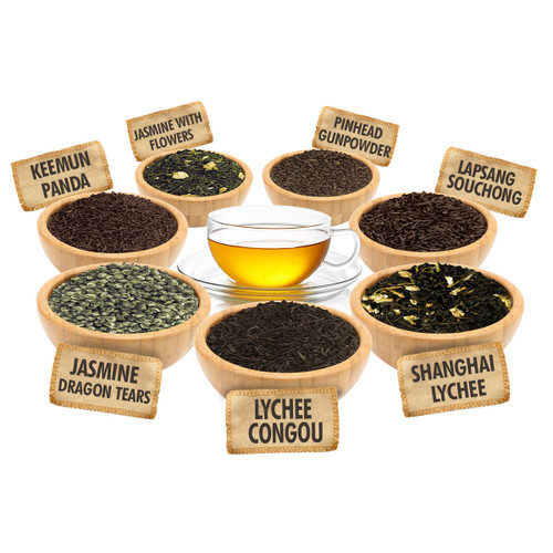 Chinese Tea Sampler - 1 ounce Pouches of 7 Chinese Loose Leaf Teas