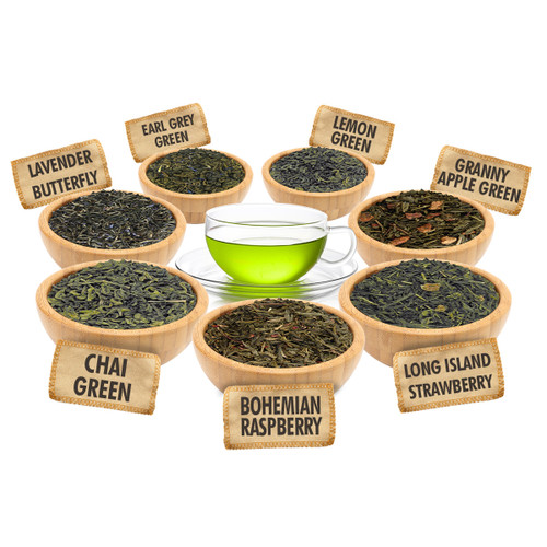 Green Tea Sampler - 1 ounce Pouches of 7 Green Loose Leaf Teas