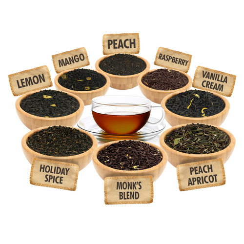 Flavored Black Tea Sampler - 1 ounce Pouches of 8 Flavored Loose Leaf Teas