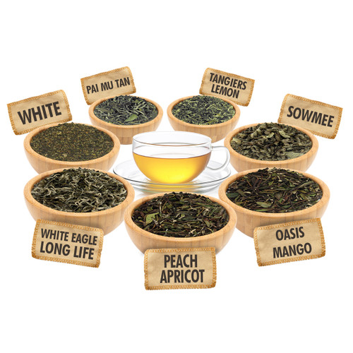 White Tea Sampler - 1 ounce Pouches of 7 White Loose Leaf Teas