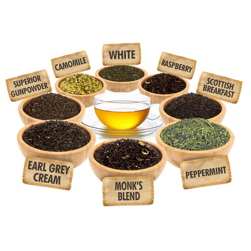 Variety Tea Sampler - 1 ounce Pouches of 8 Delicious Different Flavor Loose Leaf Teas