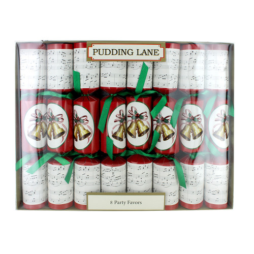Pudding Lane Musical w/Whistle Christmas Crackers - 8 pack