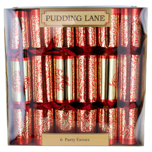 Pudding Lane Red & Gold Luxury Christmas Crackers - 6 pack