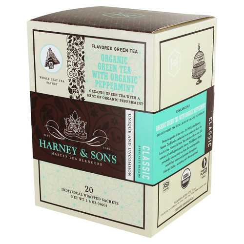 Harney and Sons Tea - Organic Green Tea with Peppemint - 20 count