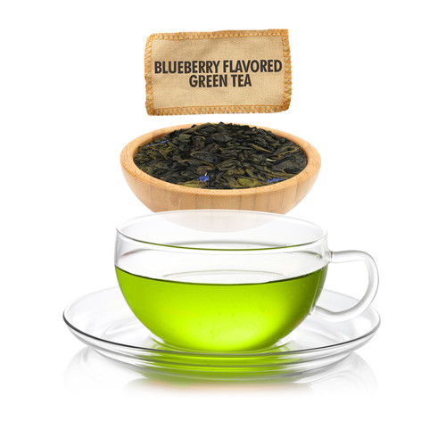 Blueberry Flavored Green Tea - Loose Leaf - Sampler Size - 1oz