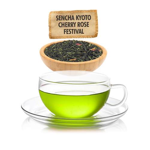 Sencha Kyoto Cherry Rose Festival Green Tea - Loose Leaf - Sampler Size - 1oz