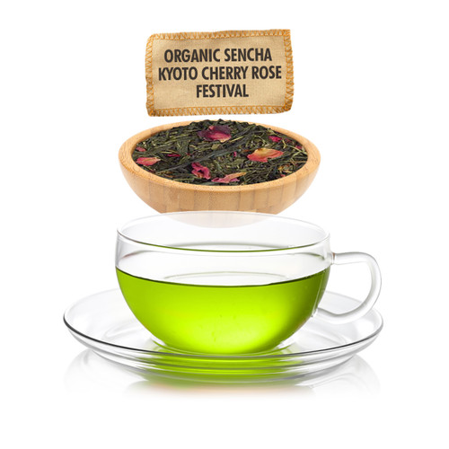 Organic Sencha Kyoto Cherry Rose Festival Green Tea - Loose Leaf - Sampler Size - 1oz