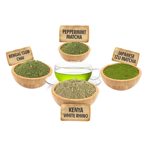 Matcha Tea Sampler - 1 ounce Pouches of 4 Matcha Loose Leaf Teas