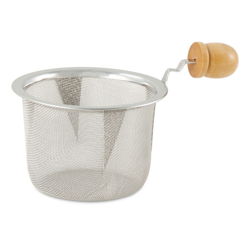 2.5in Diameter Stainless Steel Mesh Strainer with Wooden Handle