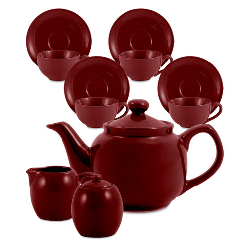 Amsterdam Tea Set - 6 Cup - Burgundy