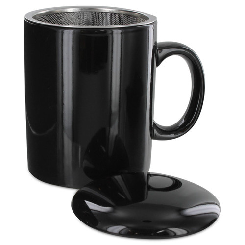 Teaz Cafe Infuser Mug with Lid - 11oz - Black