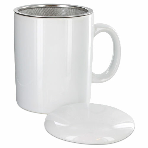 Teaz Cafe Infuser Mug with Lid - 11oz - White