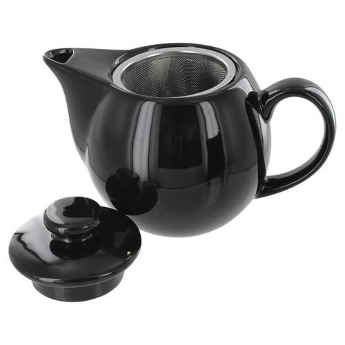 Teaz Cafe Teapot with Stainless Steel Infuser - 14oz - Black