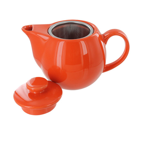 Teaz Cafe Teapot with Stainless Steel Infuser - 14oz - Orange