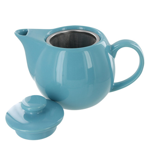 Teaz Cafe Teapot with Stainless Steel Infuser - 14oz - Turquoise