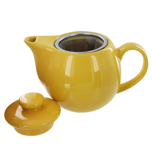 Teaz Cafe Teapot with Stainless Steel Infuser - 14oz - Yellow
