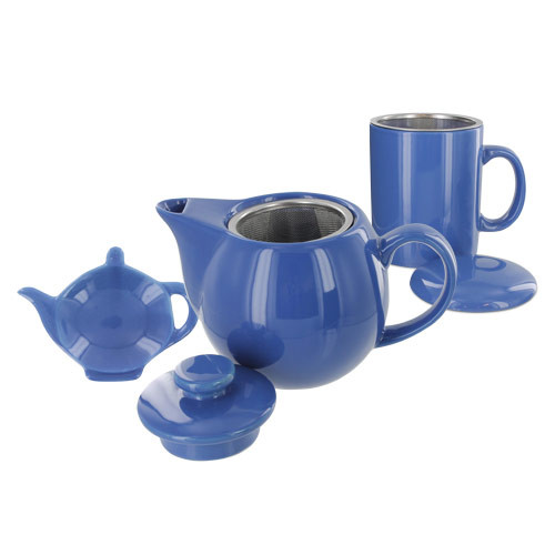 Teaz Cafe Set with Stainless Steel Infuser Teapot- 14oz - Blue