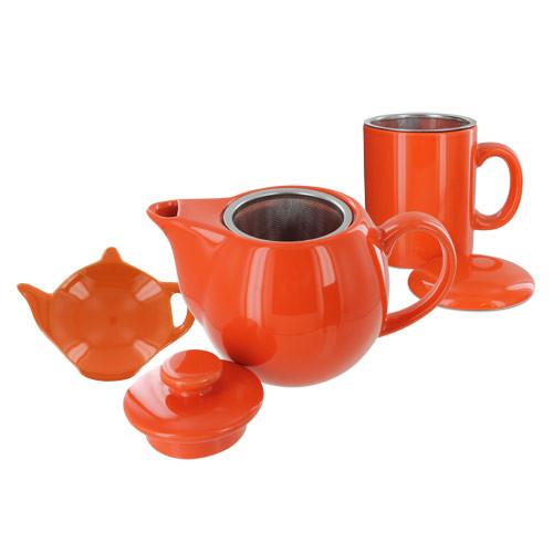 Teaz Cafe Set with Stainless Steel Infuser Teapot- 14oz - Orange