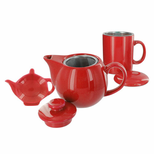 Teaz Cafe Set with Stainless Steel Infuser Teapot- 14oz - Red