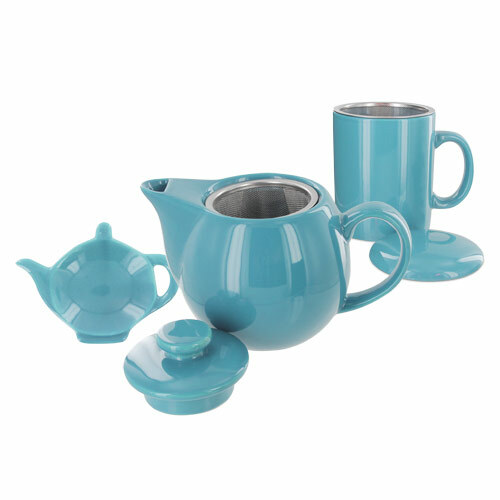 Teaz Cafe Set with Stainless Steel Infuser Teapot- 14oz - Turquoise