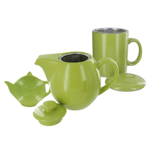 Teaz Cafe Set with Stainless Steel Infuser Teapot- 24oz - Green
