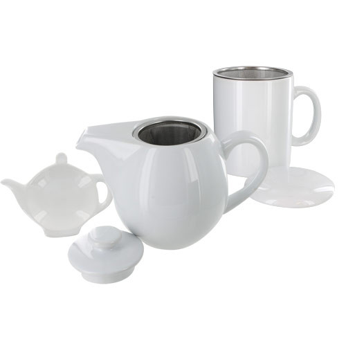 Teaz Cafe Set with Stainless Steel Infuser Teapot- 24oz - White