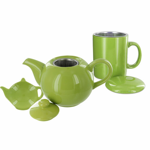 Teaz Cafe Set with Stainless Steel Infuser Teapot- 40oz - Green