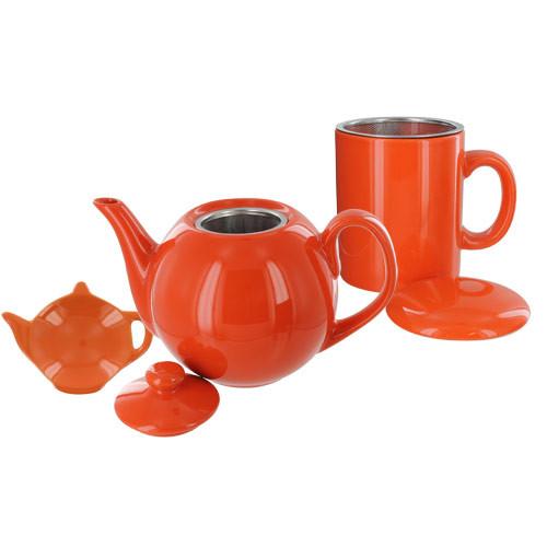 Teaz Cafe Set with Stainless Steel Infuser Teapot- 40oz - Orange