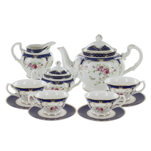 Navy Rose Porcelain Tea Set