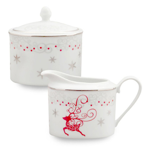 Twinkle Star Reindeer Porcelain Sugar and Creamer Set