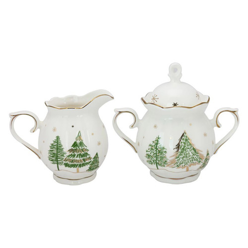 Green Pine Tree Porcelain Sugar and Creamer Set