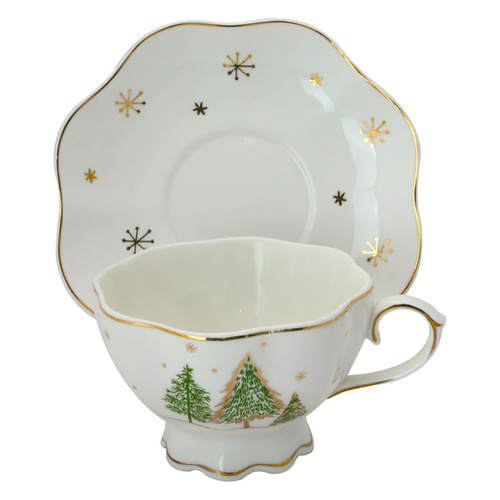 Green Pine Tree Porcelain Teacup and Saucer  - Set of 4