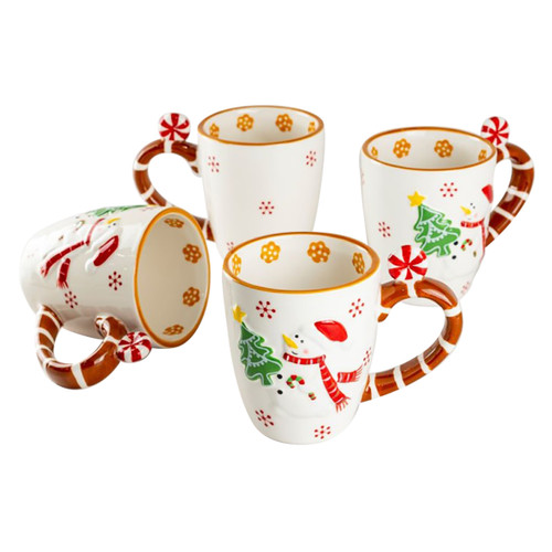 Snowman & Peppermint Ceramic Mugs - Set of 4