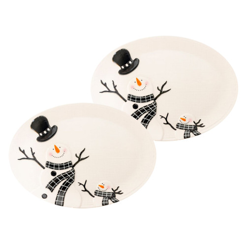 Snowman Oval Platters - Set of 2