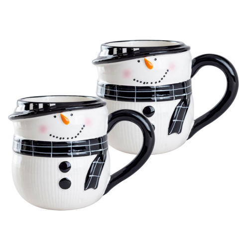Snowman Ceramic Mugs - Set of 2