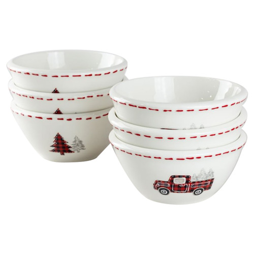 Farmhouse Christmas Ceramic Prep Bowls- Set of 6
