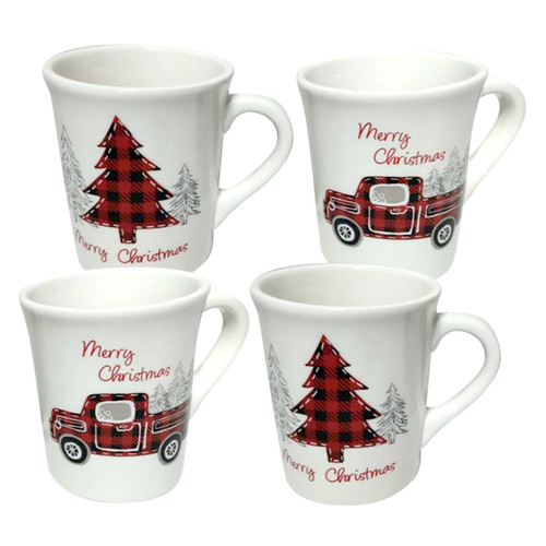 Farmhouse Christmas Ceramic Mugs - Set of 4