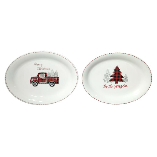 Farmhouse Christmas Oval Platters - Set of 2