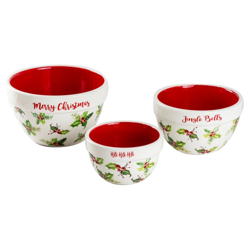 Holly Chintz Christmas Mixing Bowls - 3 Piece
