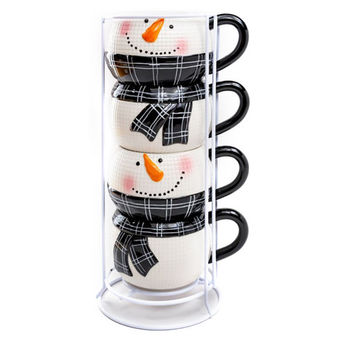 Stacked Snowman Ceramic Mugs - 5 Piece Set