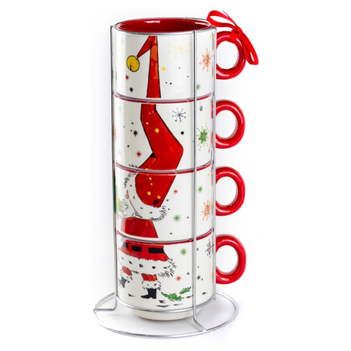 Stacked Santa Ceramic Mugs - 5 Piece Set