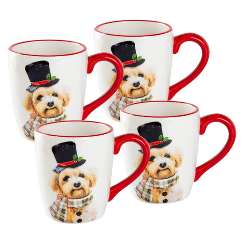 Christmas Dog Ceramic Mugs - Set of 4