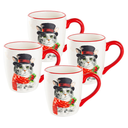 Christmas Cat Ceramic Mugs - Set of 4