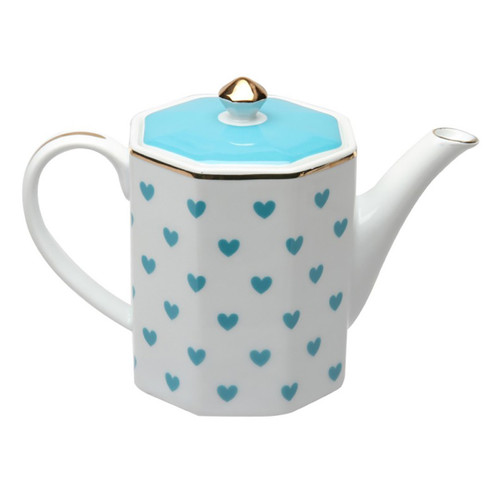 Turquoise Heart Coffee Pot