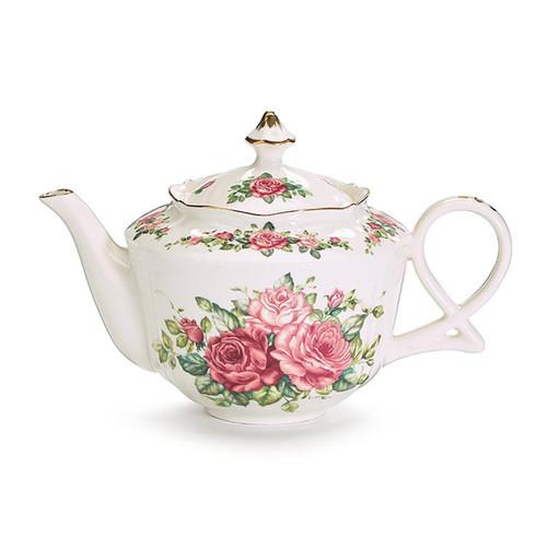 Pink Roses Porcelain Teapot - 5 cup
