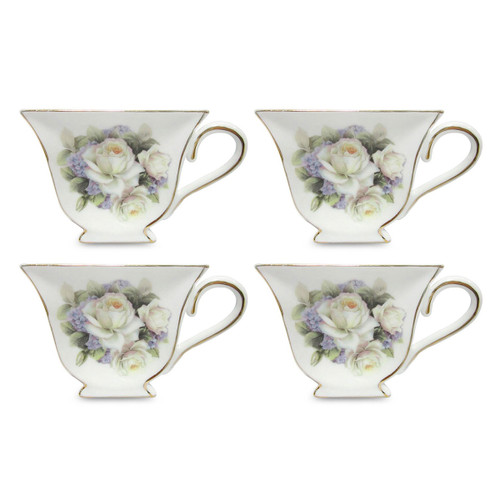 White Rose Tea Bag Holder - Set of 4