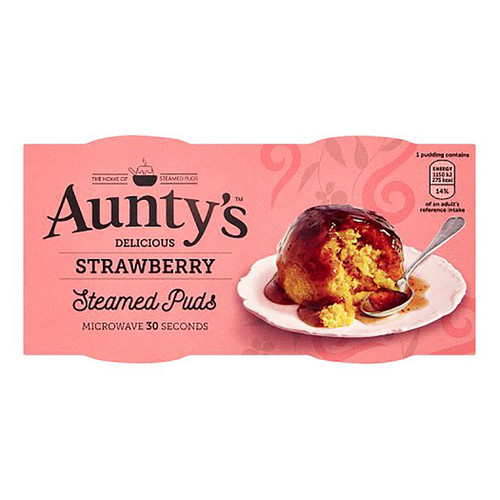 Auntys Strawberry Steamed Puddings - (2 x 95g)